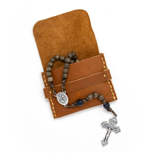 OreMoose || Rosary Pouch (Amber) - Handmade Leather Pouch with Envelope Feature