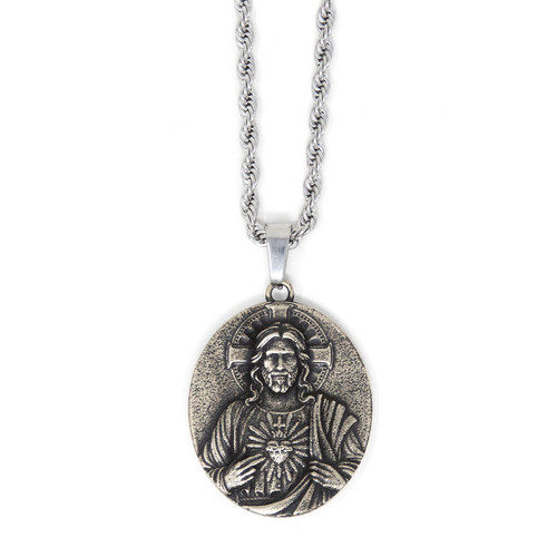 In Via || Scapular Medal - Handcrafted with 22in Steel Rope Chain