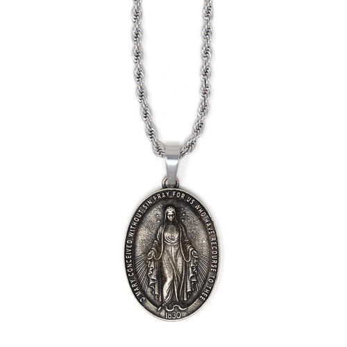 In Via || Miraculous Medal - Handcrafted with 22in Steel Rope Chain