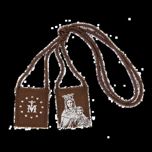 Premium Brown Scapular | Brown and Cream - Our Lady of Mt. Carmel - Regular - 17in