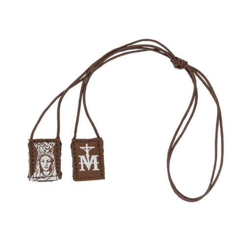 Premium Brown Scapular | Brown and Cream - Our Lady of Mt. Carmel (Mini) - 16in