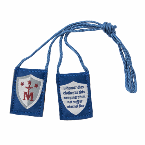 Premium Brown Scapular | Blue and White, Shield (Kids Size) - 13.5in