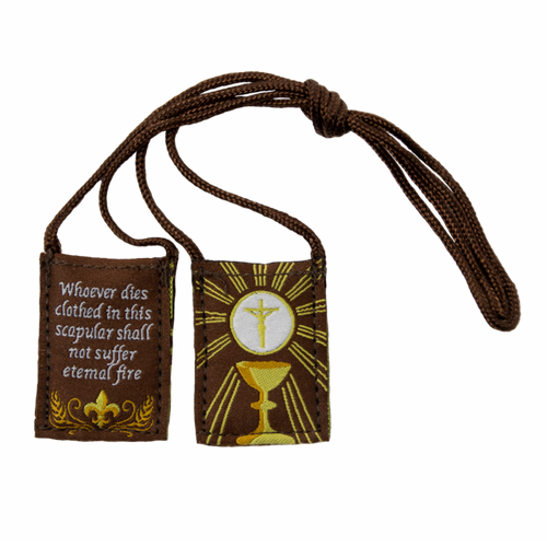Premium Brown Scapular | Brown and Gold, Eucharist (Kids Size) - 13.5in