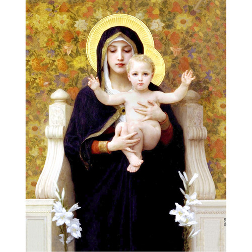 """Madonna of the Lilies painting by William-Adolphe Bouguereau (1881) - Canvas Print - 8"""" x 10"""""""