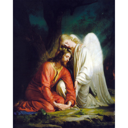 Gethsemane painting by Carl Heinrich Bloch (1873) - Canvas Print - Christ Comforted by an Angel