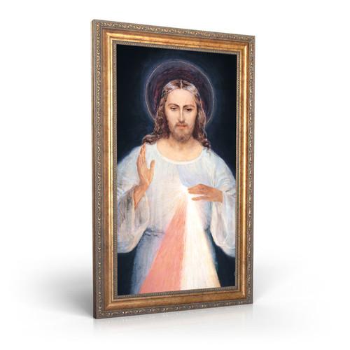 "Face of Jesus - Framed Canvas - 12"" x 22"" - Divine Mercy Vilnius"