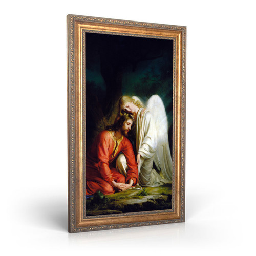 """Gethsemane painting by Carl Heinrich Bloch (1873) - Canvas Print - 8"""" x 10"""" - Christ Comforted by an Angel"""