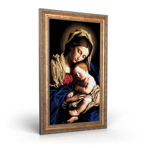 "Madonna and Child painting by Giovanni Battista Salvi da Sassoferrato (1640) - Framed Canvas - 12"" x 22"""