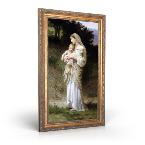 """L'Innocence painting by William-Adolphe Bouguereau (1881) - Framed Canvas - 12"""" x 22"""""""