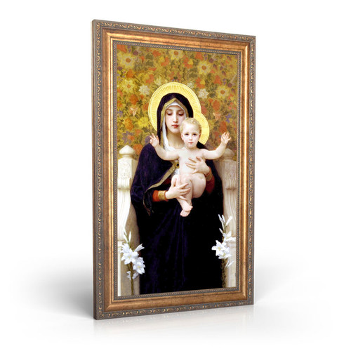 """Madonna of the Lilies painting by William-Adolphe Bouguereau (1881) - Framed Canvas - 12"""" x 22"""""""