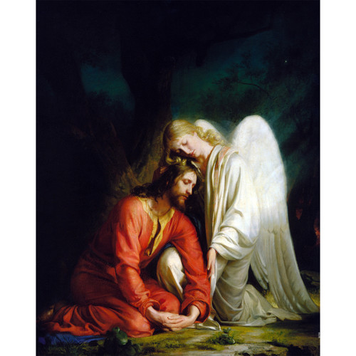 """Gethsemane painting by Carl Heinrich Bloch (1873) - Canvas Print - 16"""" x 20"""" - Christ Comforted by an Angel"""