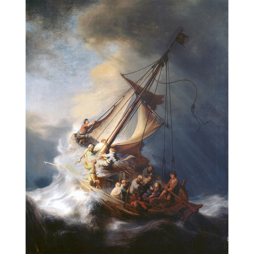 """The Storm on the Sea of Galilee painting by Rembrandt (1633) - Canvas Print - 16"""" x 20"""" - Christ in the Storm"""