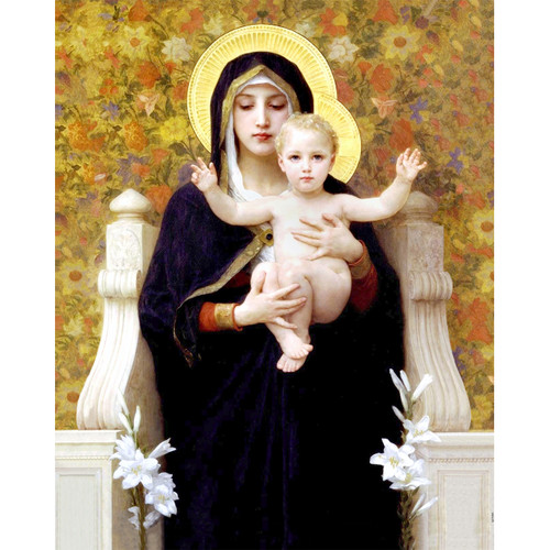 """Madonna of the Lilies painting by William-Adolphe Bouguereau (1881) - Canvas Print - 16"""" x 20"""""""