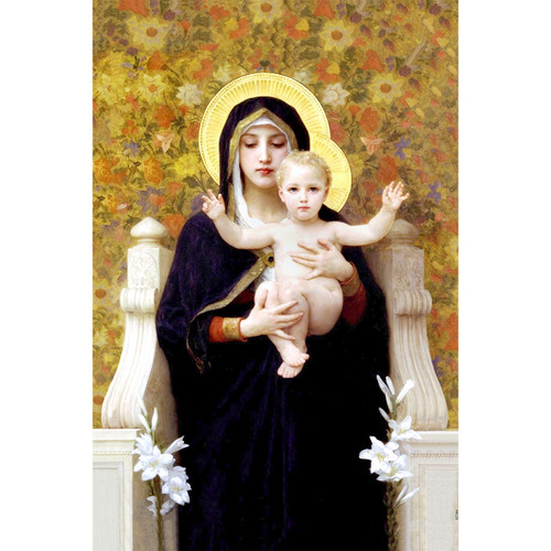 """Madonna of the Lilies painting by William-Adolphe Bouguereau (1881) - Canvas Print - 12"""" x 18"""""""