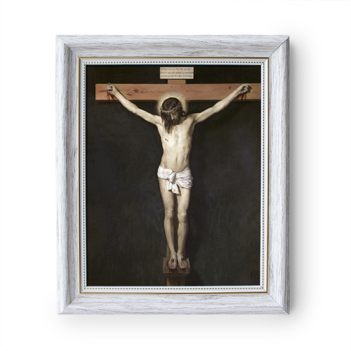 """Christ Crucified painting by Diego Velázquez (1632) - White Frame - Framed Canvas - 8"""" x 10"""" - Divine Mercy Vilnius"""