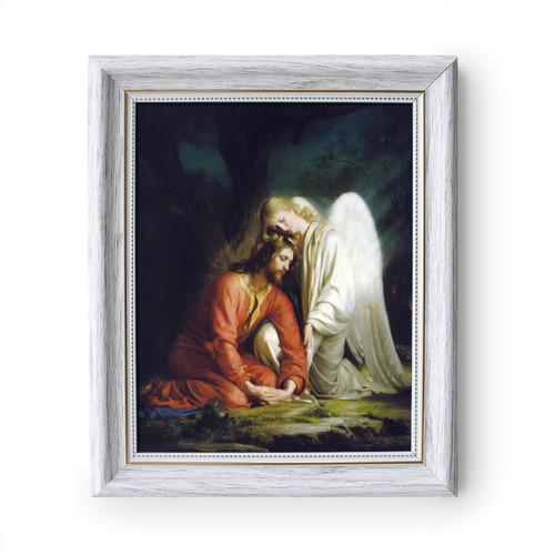 "Gethsemane painting by Carl Heinrich Bloch (1873) - White Frame - Framed Canvas - 8"" x 10"" - Divine Mercy Vilnius"