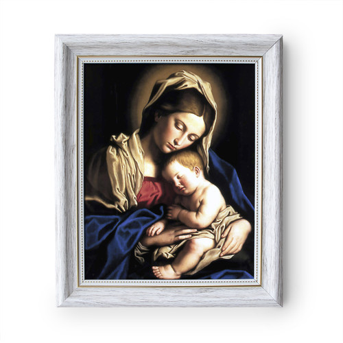 """Madonna and Child painting by Giovanni Battista Salvi da Sassoferrato (1640) - White Frame - Framed Canvas - 8"""" x 10"""""""