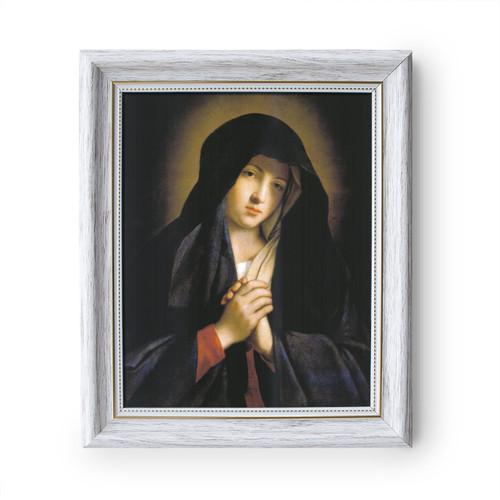 "Madonna in Sorrow painting by Giovanni Battista Salvi da Sassoferrato - White Frame - Framed Canvas - 8"" x 10"""