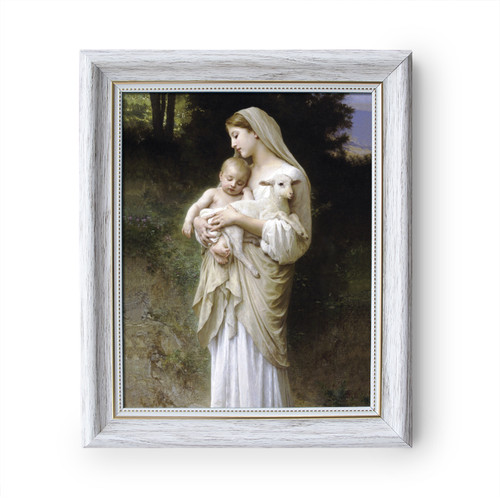 """L'Innocence painting by William-Adolphe Bouguereau (1881) - White Frame - Framed Canvas - 8"""" x 10"""""""