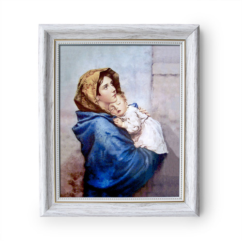 """Madonna of the Streets painting by Roberto Ferruzzi (1897) - White Frame - Framed Canvas - 8"""" x 10"""""""
