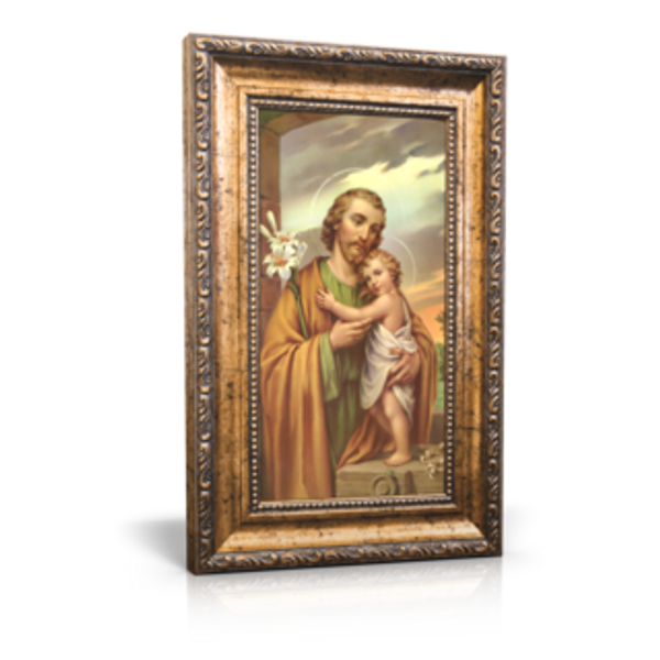 """Traditional Image of St. Joseph - Framed Canvas 6"""" x 11"""" (Including frame: 9.5"""" x 14.5"""")"""
