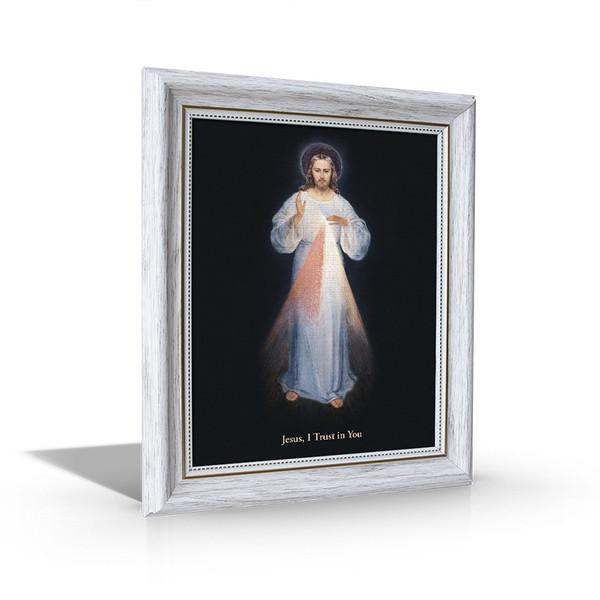 Divine Mercy - White Framed Canvas