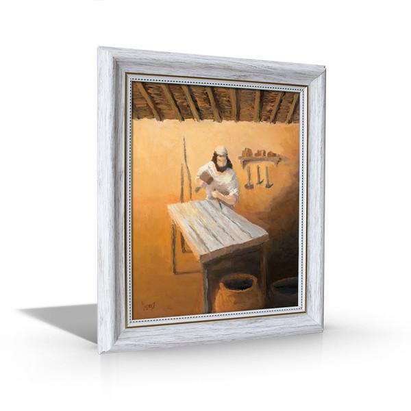 Joseph the Carpenter - White Framed Canvas