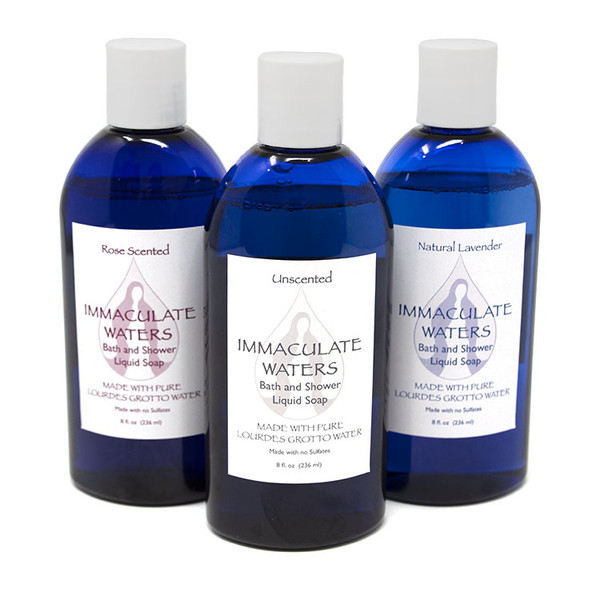 Immaculate Waters || Bath and Shower Liquid Soap made with Lourdes Water - 3-Pack