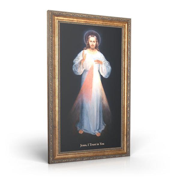 "Divine Mercy (Vilnius) - Framed Canvas 12"" X 22"""