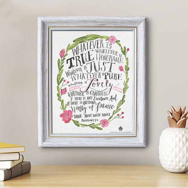 Philippians 4:8 - Framed Canvas