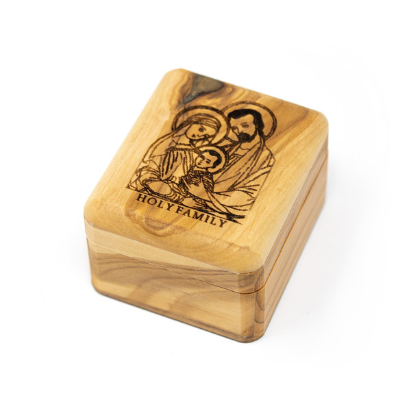 Olive Wood Holy Family Box