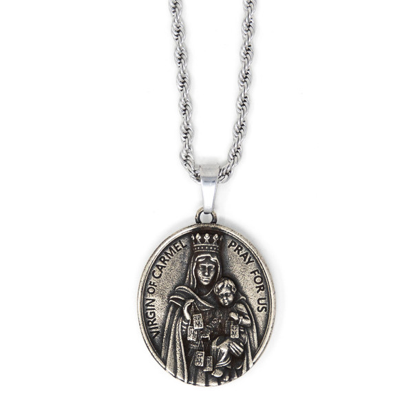 In Via    Scapular Medal - Handcrafted with 22in Steel Rope Chain