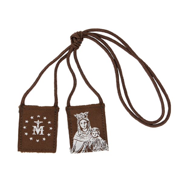 Premium Brown Scapular   Brown and Cream - Our Lady of Mt. Carmel - Regular - 14in