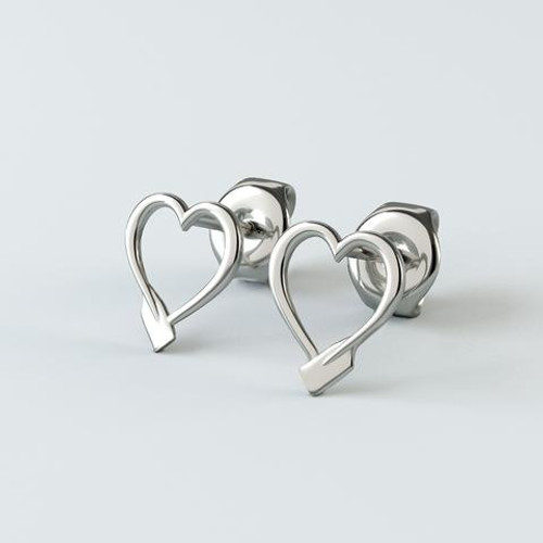 Rowing Oar Heart Stud Earrings