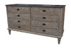 "Melange 6 Drawer Distressed 60"" Double Vanity Sink"