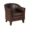 Brown Faux Leather Barrel Accent Chair - DS-2278-900-2