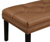 Faux Leather Diamond Tufted Upholstered Bed Bench in Lummus Cognac- DS-D029003-460
