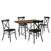 5 Piece Industrial Wood & Metal Dining Set - DS-D087002