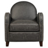 Charcoal Faux Leather Curved Arm Accent Chair - DS-D113003