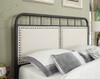 All-in-One Linen Upholstered Panel Queen Metal Bed - DS-2642-290