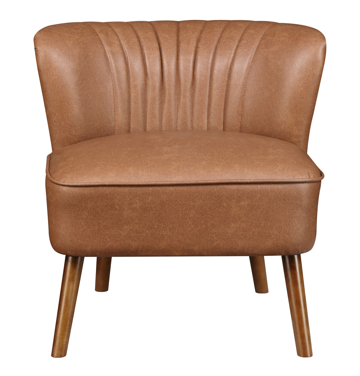 Faux Leather Channeled Wing Back Accent Chair In Lummus Cognac Ds