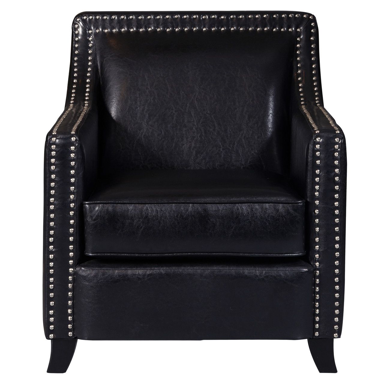 Black Faux Leather Swoop Arm Accent Chair Ds D113002 North Carolina Furniture Warehouse