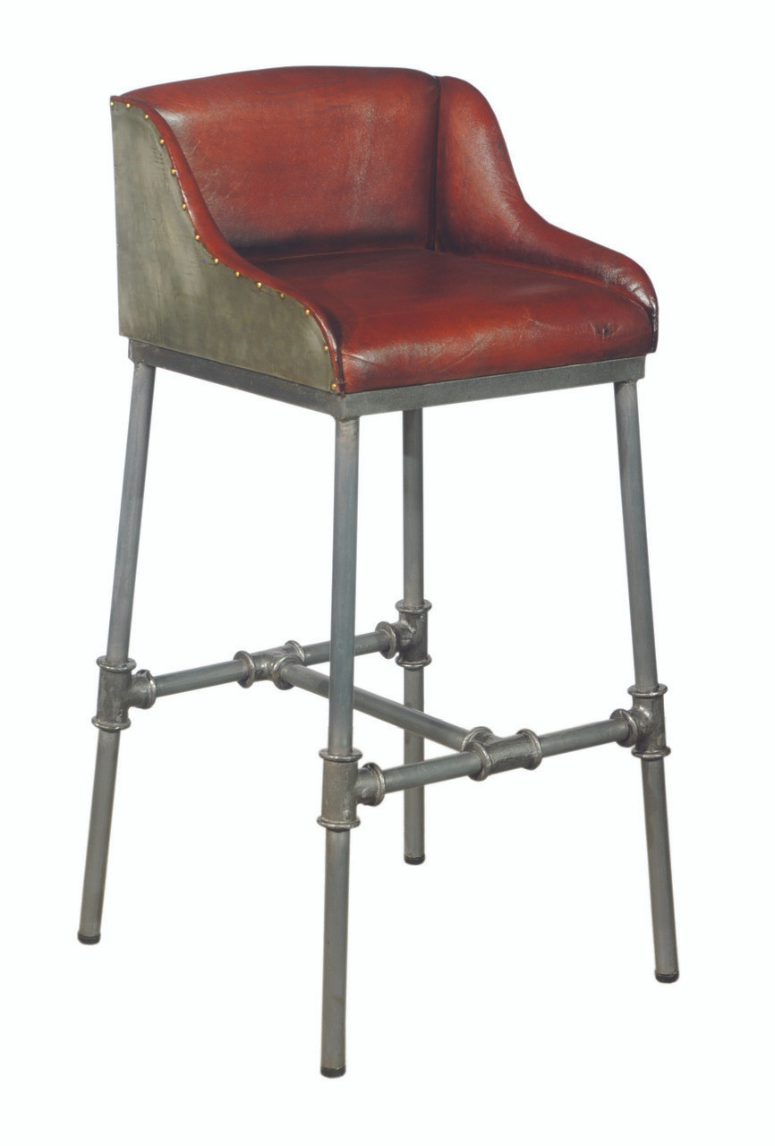 Brandon Industrial Leather Barstool   DS P006044