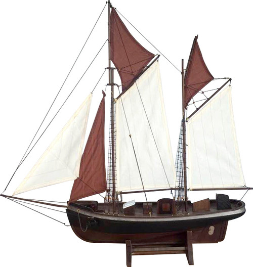 SAILBOAT WITH BROWN & WHITE SAILS
