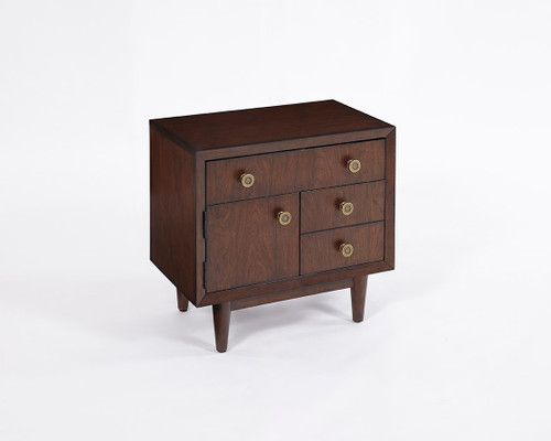 1 Door/2 Drawer Nightstand Walnut