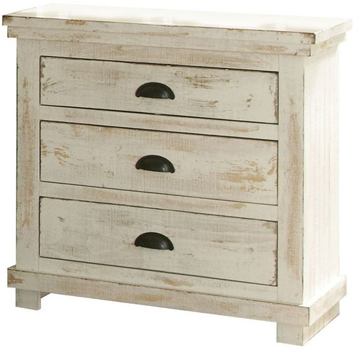 Willow Distressed White Nightstand - P610-43