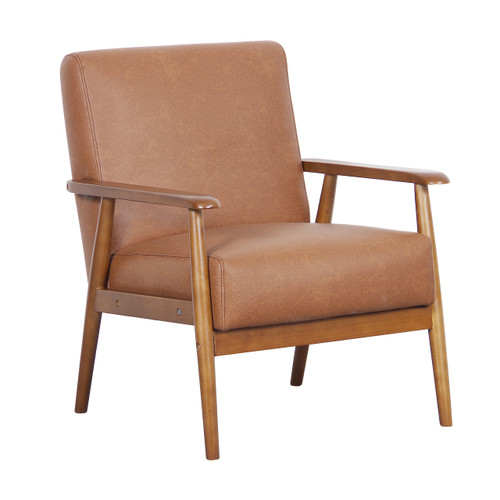 Wood Frame Faux Leather Accent Chair in Lummus Cognac - DS-D030003-460