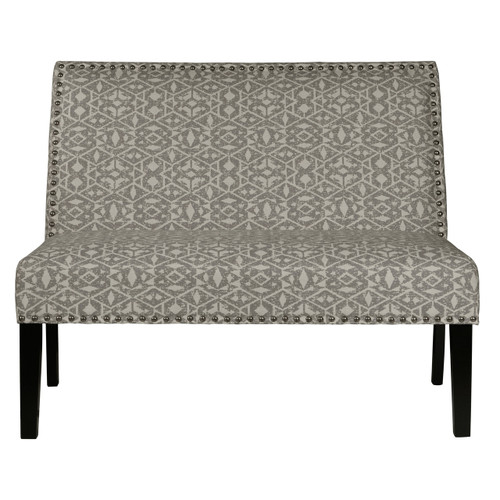 Tribal Print Upholstered Settee in Batu Dove - DS-2183-400-490