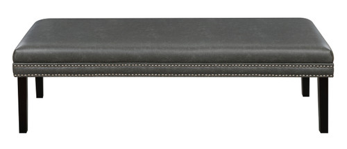 Faux Leather Upholstered Bed Bench with Nail Head Trim in Lummus Steel - DS-D029002-329