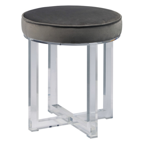 Round Upholstered Acrylic Leg Ottoman in Luxor Flannel - DS-D107006-579